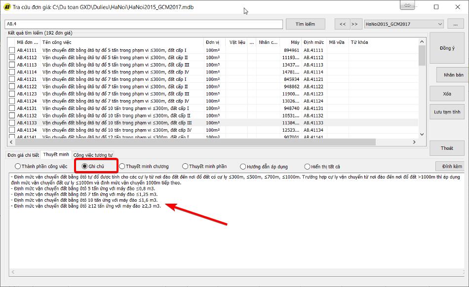 Ghi chú áp dụng định mức trong phần mềm Dự toán GXD