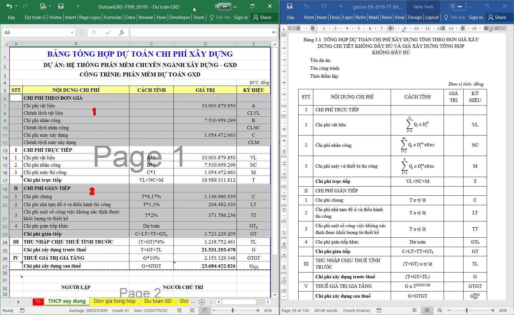 bảng tổng hợp dự toán chi phí xây dựng