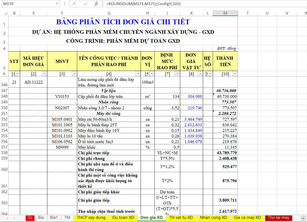 Bảng đơn giá chi tiết (bảng phân tích đơn giá chi tiết, bảng chiết tính đơn giá)