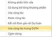 Lệnh Xóa công tác trong DGTH