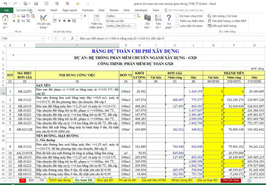 Trong bảng dự toán hiện các ô có giá trị bằng 0 nhìn rất rối mà tốn mực in, kéo dài thời gian in :)