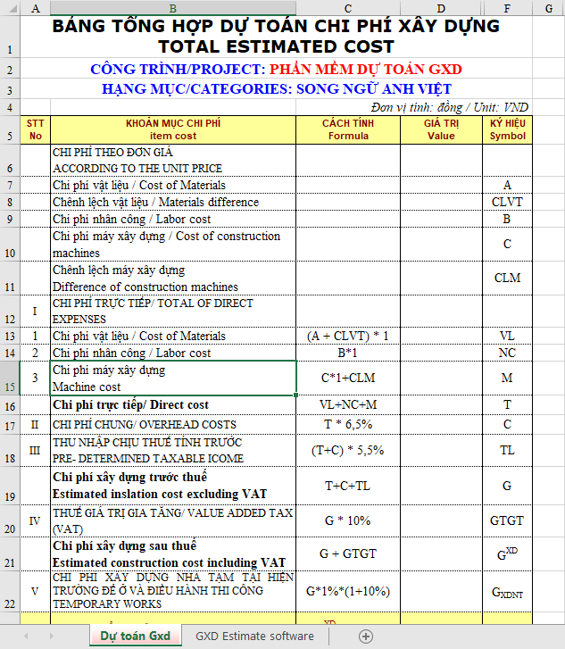 Bảng tổng hợp dự toán chi phí xây dựng song ngữ Anh Việt