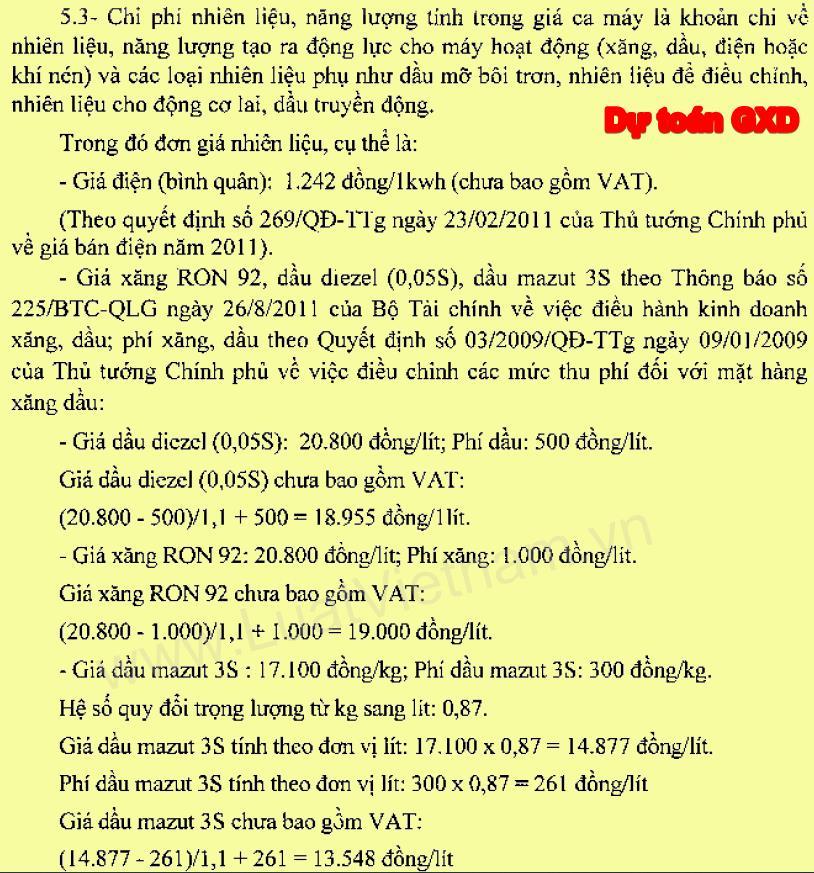 Các tính giá nhiên liệu xăng dầu trong bảng giá ca máy Hà Nội