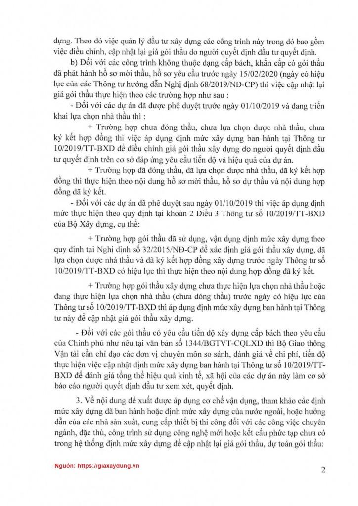 Văn bản số 1158/BXD-KTXD ngày 17/03/2020 của Bộ Xây dựng - Trang 2