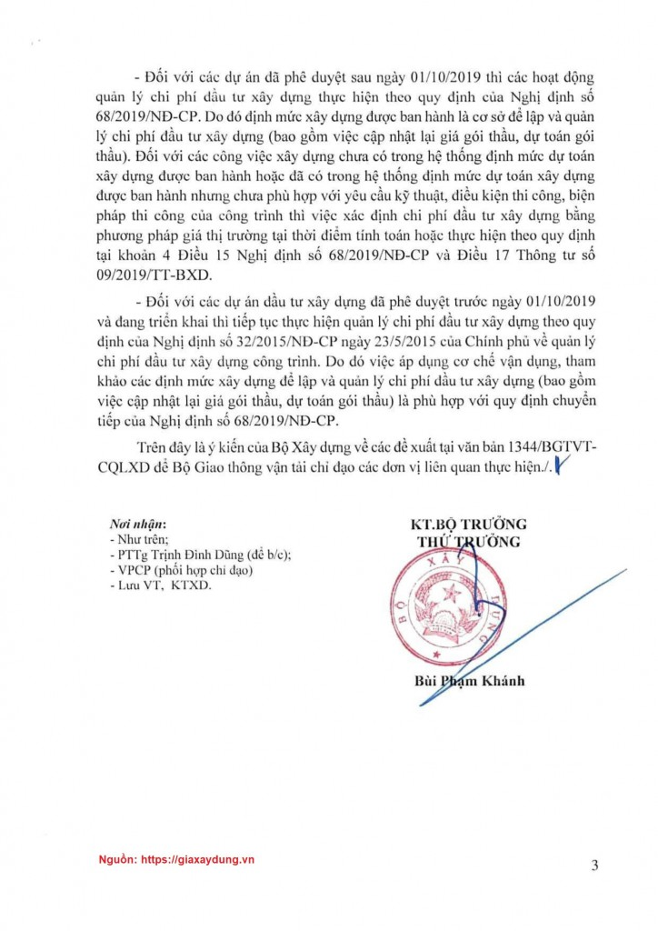 Văn bản số 1158/BXD-KTXD ngày 17/03/2020 của Bộ Xây dựng - Trang 3