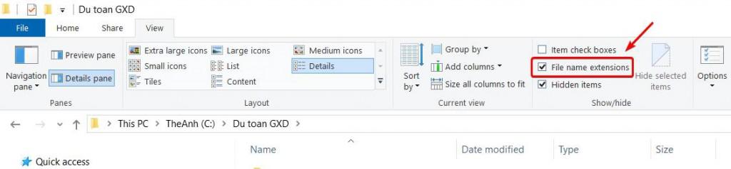Chọn File name extensions để hiển thị các loại đuôi file tiện nhận biết khi thao tác và quản lý