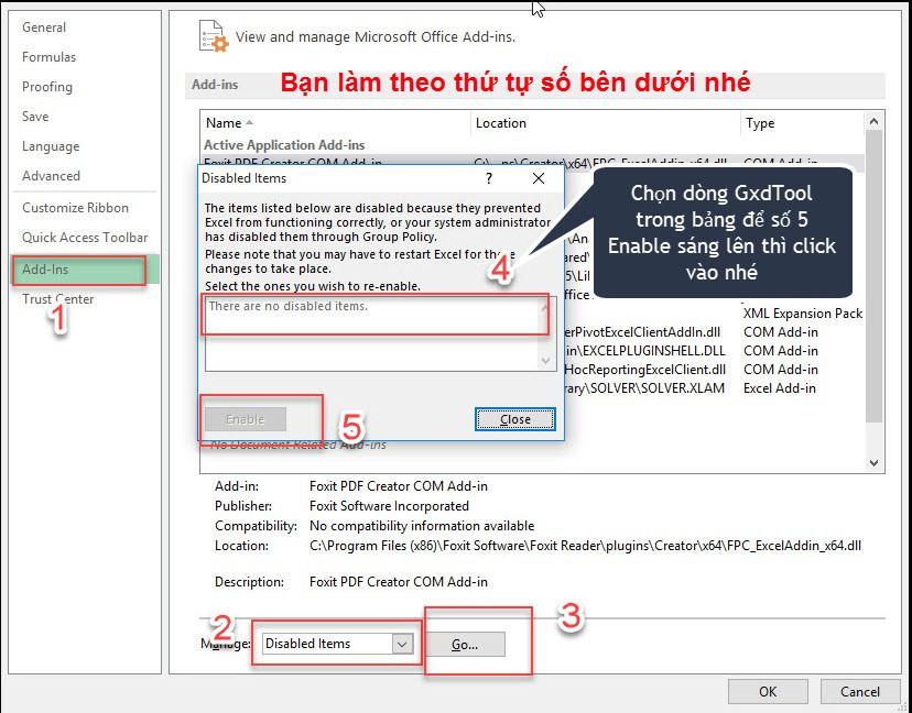 Chọn mục Add-ins trong hộp thoại và thao tác tại các mục theo thứ tự ghi trong hình