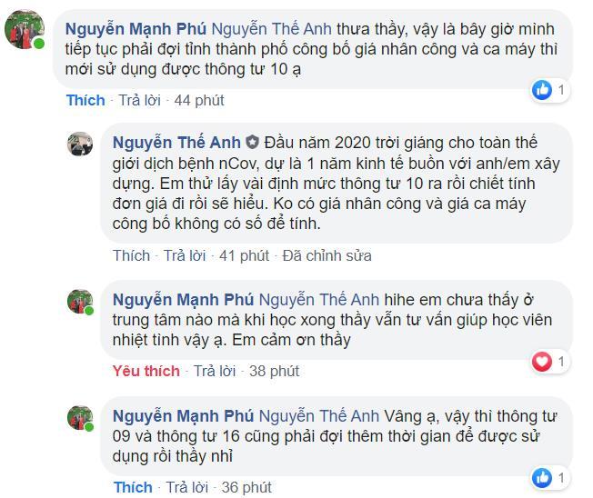 Kỹ sư Nguyễn Mạnh Phú khen ngợi sự hỗ trợ sau khóa học dự toán của giảng viên GXD