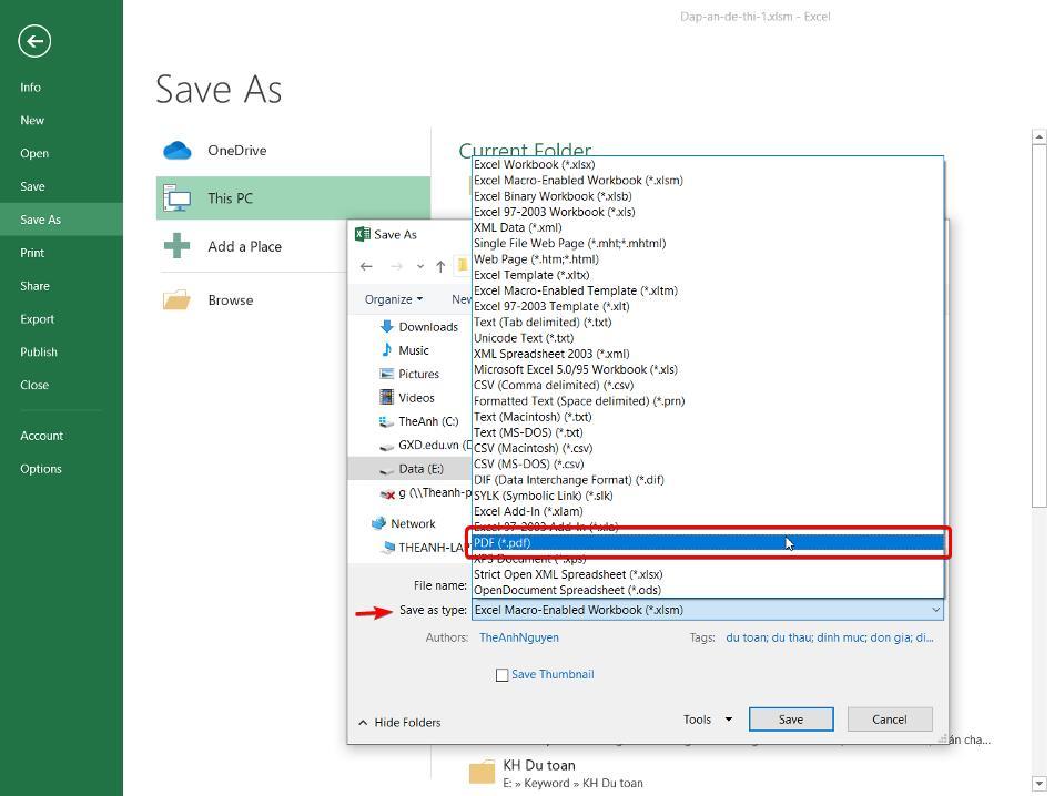 Save as file và chọn loại PDF ở mục Save as type để lưu bảng tính dự toán ra dạng PDF