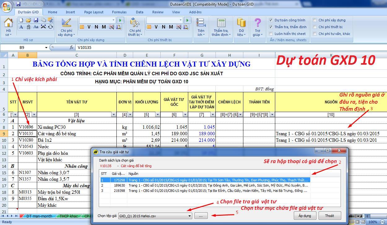 Tra cứu vật liệu theo công bố giá địa phương ngay trong bảng tổng hợp vật tư