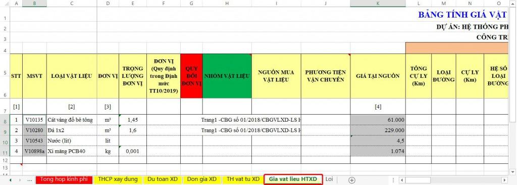 Tại sheet Giá vật liệu HTXD bạn cũng có thể kích phải vào cột B để thực hiện tra giá gốc đưa vào cột Giá tài nguồn